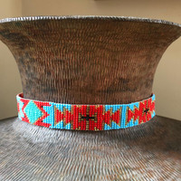 "Hat Band, Hatbands, Cowboy, Western, Leather, Beaded, Red and Blue, Leather Ties, 7/8"" X 21"""
