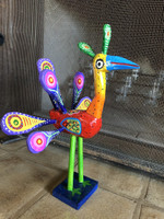 """Hand-Painted Peacock Made in Guatemala, One-of-a-Kind Art 006 14.5"""" x 9"""" x 11"""""""