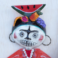 Coconut Doll with Orange Shirt from Mexico, One-of-a-Kind Art 17x9.5