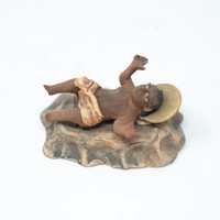 "Baby Jesus in Stables, Handmade Art in Oaxaca Mexico, Vintage Clay Sculpture 4""x2"""