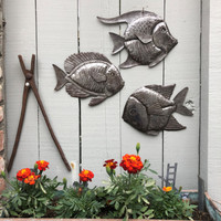 School of fish wall art, indoor outdoor pool art, Recycled steel Haiti