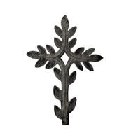 Small Wall Crosses for Home Decor, Handmade in Haiti, Recycle Metal Art, Leaf Design, 5 x 7.5 Inches