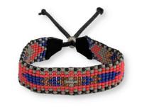 Handmade Bracelet, Glass beads, Beaded, Red, Blue, and Gray, Variety Designs, Leather, Shabby Chic, Boho Look, Aztec Tribal, Handmade in Guatemala