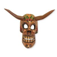 "Wooden Skeleton, Skull Mask, Diablo, Day of the Dead, Dia De Los Muertos, Handcarved, Fair Trade, White 12"" x 15"" x 7"""