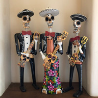 Catrina Mariachi Skeleton Dia de los Muertos Day of the Dead hand carved Guatemala GUAT1049