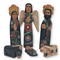 hand carved Guatemala Nativity , green tones