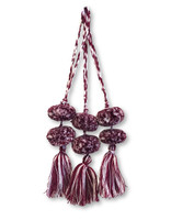 Mayan Arts Pom Pom Tassel, Set of 3, Maroon and White, Charming Small Pom Poms Women's Fashion Hand Bags or Home Accent Decor Accessories, Handmade in Guatemala