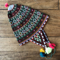 This vintage Andean Peruvian Bolivian ch'ullo colorful alpaca wool knit ear-flap folk hat dates from the late 19th century.