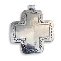 hand cast pewter cross pendant mexico