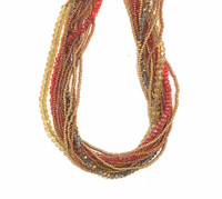 Necklace Gold and Red, Multi Color Sparkly Beads, Handmade Women Necklaces, Jewelry, Magnetic Clasp, 19.5 Inches Long