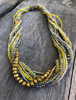 Necklace Silver Yellow Copper, Multi Color Sparkly Beads, Handmade Women Necklaces, Jewelry, Magnetic Clasps, Dressy and Casual Wear, 19.5 Inches Long