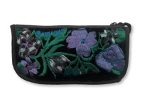 Soft Padded Eyeglasses Pouch Holder Case with Zipper Pocket and Strap,Hand Embroidered Flowers, Blue