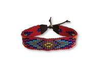 Handmade Bracelet, Glass Beads, Beaded, Red Multi color, Variety Designs, Leather, Shabby Chic, Boho Look, Aztec Tribal