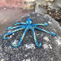 Octopus, Nautical Christmas Ornament, Decorations, Sky blue Jewelry, Hand Strung Seed Beads, Pin Attached, Brooch