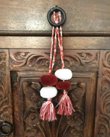 Tassels with Pom Poms, Brown and White, Team School Colors, Home Decor, Gift Tag, Decorative Small Handmade Pom Pom, Fair Trade Guatemala