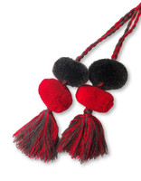 Tassels with Pom Poms, Gray and Red, Team School Colors, Home Decor, Gift Tag, Decorative Small Handmade Pom Poms, Fair Trade Guatemala