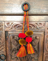 Tassels with Pom Poms, Gold and Red, Team School Colors, Home Decor, Gift Tag, Decorative Small Handmade Pom Poms, Fair Trade Guatemala