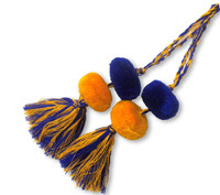 Tassels with Pom Poms, Yellow and Blue Solid Design,Team School Colors, Home Decor, Gift Tag, Decorative Small Handmade Pom Poms, Fair Trade Guatemala