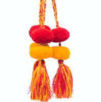 Tassels with Pom Poms, Red and Yellow Solid Design,Team School Colors, Home Decor, Gift Tag, Decorative Small Handmade Pom Poms, Fair Trade Guatemala