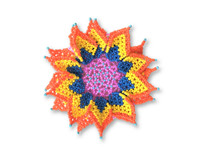 Flower Beaded Brooch Pin, Orange, Yellow, Blue, and Pink Handmade Decorative Flowers, Jewelry Accessory, Fair Trade Guatemala, 3.75 Inches