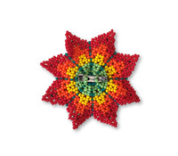 Mayan Arts Mini Beaded Flower Brooch Pin, Red, Orange, Yellow, Green, and Blue Handmade Decorative Flowers, Jewelry Accessory, Fair Trade Guatemala, 2.5 Inches