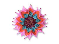 Flower Beaded Brooch Pin, Pink, Orange, and Teal, Handmade Decorative Flowers, Jewelry Accessory, Fair Trade Guatemala, 4 Inches