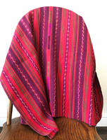 Vintage Solola Tzute Guatemala, Hand Woven Textile, Red and Brown Tones, Table Cloth, or Shawl, or Decorative Wall Hanging SKU: Table Cover 1