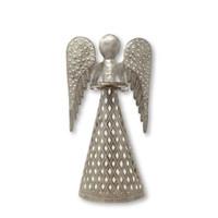 "Standing Angel, Christmas Decor, Handmade in Haiti from Recycled Metal, 15"" x 8"" x 4"""