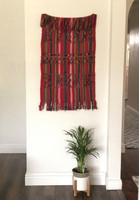 Small Red Handmade Table Cloth, Folk Art Vintage Home Decor, Bird Motifs, Vintage, Textile, Guatemala, Wall Hanging 22 x 42 Inches