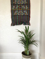 Green and Red Table Cloth,Shawl, or Decorative Wall Hanging, with Bird Motifs, Handwoven in Guatemala, Vintage Textile 15.25 x 46 Inches