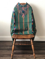 """Vintage Guatemalan Huipil, Solola Tzute Hand Woven Textile, Green Multi colors with Brown Stripes, Eclectic Wall Hanging 52"""" x 34"""""""