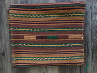 Mayan Arts Vintage Solola Tzute Guatemala, Hand Woven, Brown and Green Tones with Multi Color Stripes, Table Cover, Shawl, or Decorative Wall Hanging