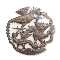 Dragon Trio, Dragons, Mystical Creature, One-of-a-Kind, Limited Edition, Sustainable, Eco-Friendly, Handcrafted, Handmade, Oil Barrels