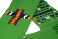 Clerical Stole, Deacon Estola, Handwoven with Bird Motifs, Green, Guatemala Textile Home Decor, Festive Holiday Linens, Spring Colors Cotton,