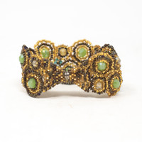 "Handmade Magnetic Bracelet, Gold, Teal, Brown and Green Tones, Women's Fashion, 1.25"" X 7"