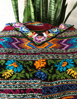 Huipil Hand Woven Blouse from Guatemala, Embroidered Flowers and Stripes, Multi Color, Authentic, Vintage, Handmade, Collection