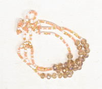 Bracelet Made with Seed Beads, Multi Strand, Peach, White and Gold Multi color Beads, Triple Loop Closure 1 x 8.25 Inches