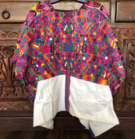 Huipil Hand Woven Blouse from Guatemala, Embroidered Motifs, Multi Color, Authentic Worn Vintage Clothing