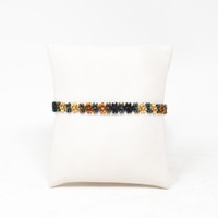 """Friendship Bracelets Set of 3, Daisy Beads, Cooper, Black and Gold, Teen Girl Jewelry Double Loop Closure  7"""" to 7 1/2"""""""