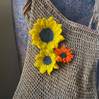 Hand made orange Sunflower pin, brooch , accessory