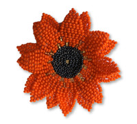 Sunflower Pin, Beaded Charms for Clothes, Hats, and Purses, Remembrance Novelty Jewelry, Busy Bee, Handmade Brooch from Guatemala, Fair Trade, Pink, Yellow, and Orange 2.75 Inches