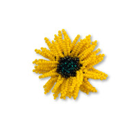 Flower Brooch, Beaded Pin for Clothing Decorations, Orange Mum, Fashion Jewelry, Gift for Her, Handmade in Guatemala, 2 Inches