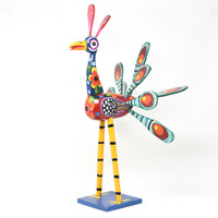 """Peacock Multicolored, Carved Wood, Wooden Art Handcrafted in Guatemala, One-of-a-Kind Art, 13"""" x 21"""" x 11"""""""