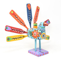 Peacock Multicolored, Carved Wood, Wooden Art Handcrafted in Guatemala, One-of-a-Kind Art,  Candle Holder