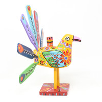 """Peacock Candle Holder, Yellow, Multicolored, Carved Wood, Wooden Art Handcrafted in Guatemala, One-of-a-Kind Art, 16"""" x 13"""" x 8"""""""