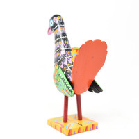 """Turkey Candle Holder, Multicolored, Carved Wood, Wooden Art Handcrafted in Guatemala, One-of-a-Kind Art, 12"""" x 8"""" x 5.5"""""""