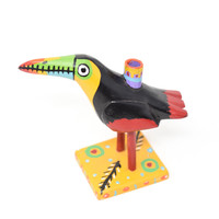"""Toucan Candle Holder, Black and Multicolored, Carved Wood, Wooden Art Handcrafted in Guatemala, One-of-a-Kind Art, 12"""" x 8"""" x 5.5"""""""