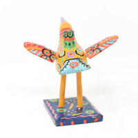 "Bird Candle Holder, Colorful Yellow, Carved Wood, Wooden Art Handcrafted in Guatemala, One-of-a-Kind Art, 8"" x 5.5"" x 6"""