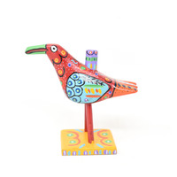 """Bird Candle Holder, Colorful, Carved Wood, Wooden Art Handcrafted in Guatemala, One-of-a-Kind Art, 7.5"""" x 6.5"""" x 5"""""""