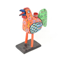 """Rooster Candle Holder, Colorful, Carved Wood, Wooden Art Handcrafted in Guatemala, One-of-a-Kind Art, 8"""" x 10"""" x 4"""""""
